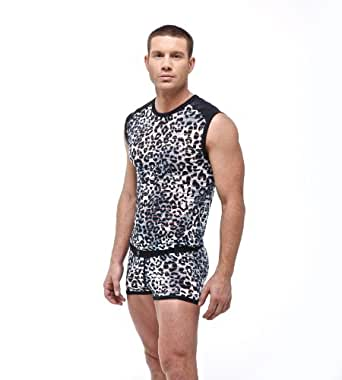 Mens Sexy Leopard Predator Muscle Shirt Fashion Tank Top by Gregg Homme Size X-large