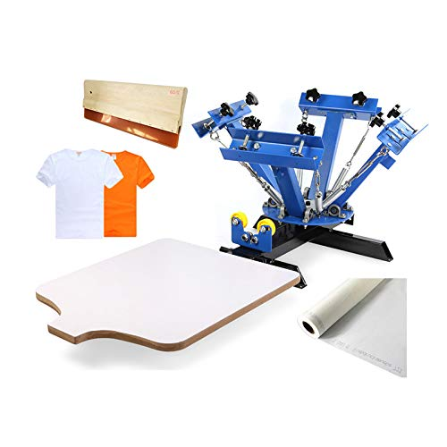 Silk Screen Printing Press Machine 4 Color Manual Screen Printing Press Silk Screening Pressing DIY with 1 Station+Gift - US Stock