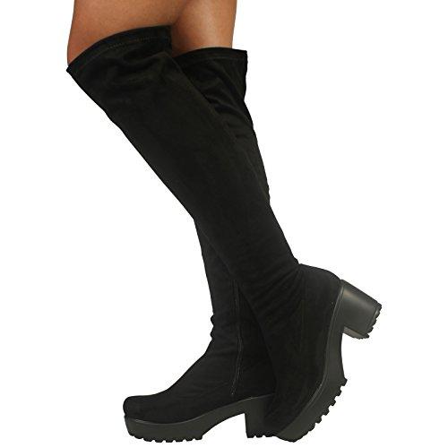 Des Femmes Sur Stretch Noir Plate Des Bottes Genou En Blocs De Dames Chaussures Gros Zip Daim forme Talon Les qvUE5ncO