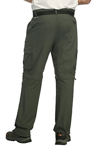 MIER Men's Convertible Pants Quick Dry Cargo Pants Lightweight Comfort Stretch for Hiking Travel, 7 Pockets, Army Green, L