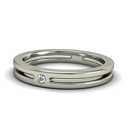 14K Or blanc, 0.02carat Diamant Taille ronde (IJ   SI) en diamant