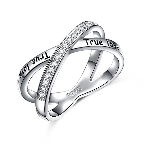 S925 Sterling Silver True Love Waits Infinity Criss Cross Rings for Women Lady, Size 7 by Silver Light Jewelry (Image #5)'