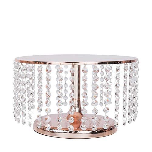 BalsaCircle 7.5-Inch Tall Rose Gold Crystal Pendants Round Metal Cake Stand - Birthday Wedding Dessert Pedestal Centerpiece Riser
