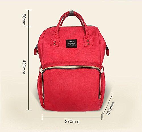 Bolso de la momia, hombro de la manera Bolso del bolso de la momia, bolso de múltiples funciones de múltiples funciones del bebé, salen el paquete ( Color : Rosa Roja ) Verde