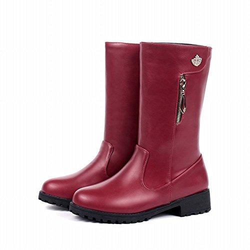 Carolbar Mujeres Zipper Decorations Rhinestone Encantos Comfort Fashion Low Heel Botas Vino Rojo