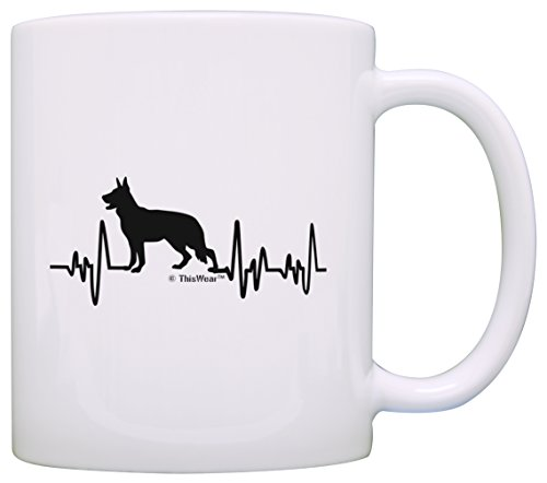 German Shepherd Gifts for Women Dog Lover Heartbeat German Shepherd Themed Gifts Dog German Shepherd Lover Gift Coffee Mug Tea Cup White