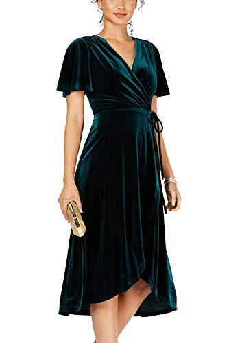 R.Vivimos Womens Velvet Pleated Wrap Tie Waist Elegant Flowy Party Plus Size Midi Dresses (XL, Dark Green/Wrap)