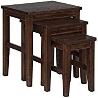 Urban Lodge Collection 731-7 21 Nesting Tables with Solid Acacia in Brown