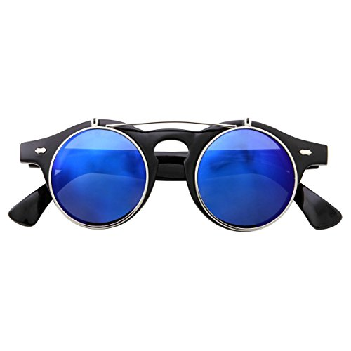 Flip Up Round Punk Sunglasses Steampunk Circle Retro (Black Silver Frame | Blue Mirror Lens)