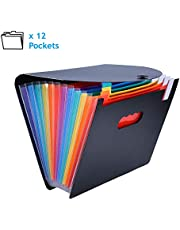 Carpeta Oficina A4 Acordeon Impermeables Folder Ampliable 12 Bolsillos con Fundas Plastico para Oficina Escolares Viaje Hogar Rainbow