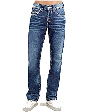 Men's Straight Leg Relaxed Fit Big T Red Stitch Jeans in Stone Grunge