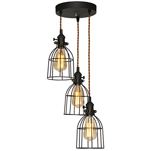 XIDING Industrial Vintage 3-Lights Metal Wire Cage Pendant Lighting Fixtures,Antique Black Farmhouse Chandelier Hanging Light 3 Sockets with Black Cages