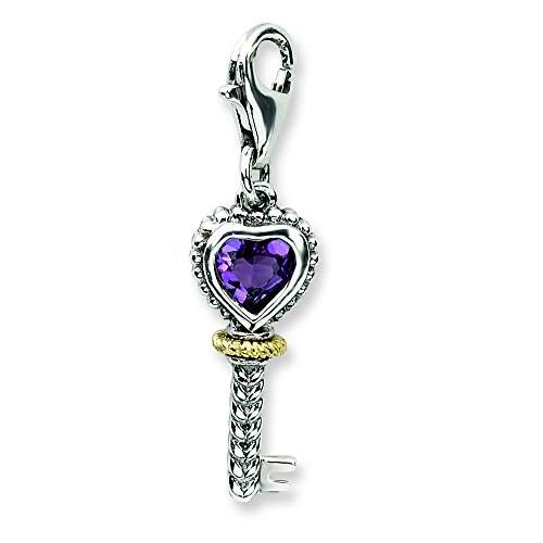 (Shey Couture Sterling Silver W/14k Amethyst Antiqued Key W/Lobster Clasp Charm )