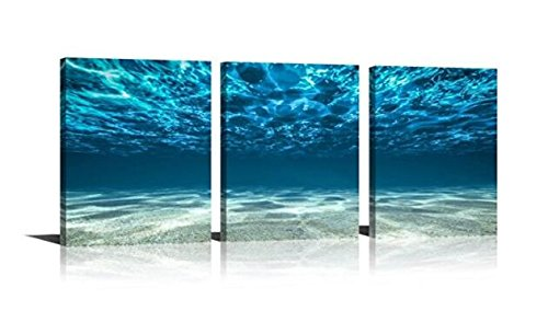 YPY Painting Artwork Printed on Canvas Blue Seaview Bottom Ocean 3 Panels Ready to Hang for Bedroom Living Room Bathroom Office 16x24inch