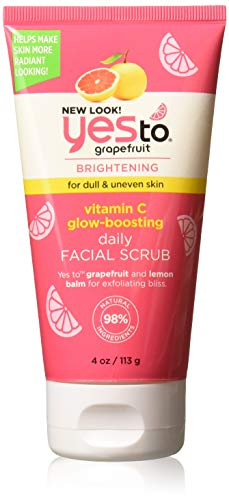 Yes To Grapefruit Vitamin C Glow Boosting Daily Facial Scrub, 4 Ounce (Best Face Wash To Get Clear Skin)