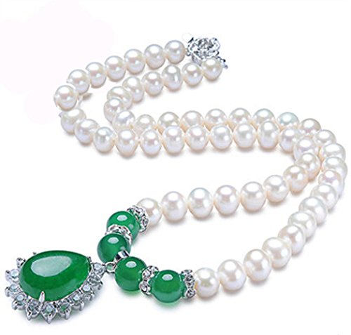 Sterling Silver 8MM White Freshwater Round Cultured Pearl Necklace with Emerald Pendant 18 inches by joybracelet