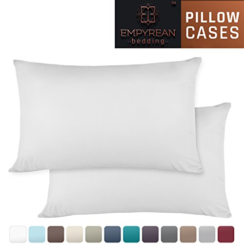 Set of 2 Premium King-Size Pillowcases - Superior-Quality Microfiber Linen, Hypoallergenic & Breathable Design, Soft & Comfortable Hotel Luxury - White