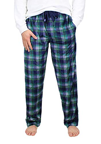 (IZOD Men's Advantage Sleepwear Silky Fleece Pajama Pants, Green/Yellow/Navy, 2XL Tall)