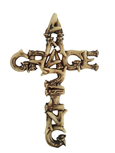 Pine Ridge Amazing Grace Antler Christian Wall Cross Home Decor Catholic Crafted Polyresin Art Cross Gift Ideas, 6""