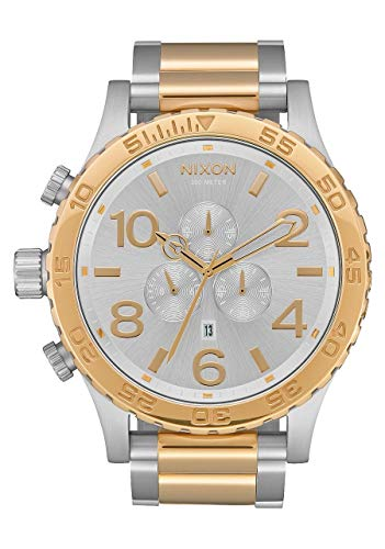 NIXON 51-30 Chrono A087 - Silver/Gold - 304M Water Resistant Men's Analog Fashion Watch (51mm Watch Face, 25mm Stainless Steel Band) (Nixon 51 30 Tide Watch)