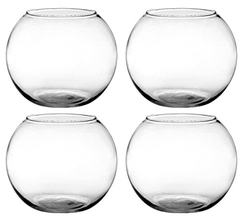 Set of 4 Syndicate Sales 6 inches Clear Rose Bowl bundled by Maven Gifts for $<!--$24.50-->