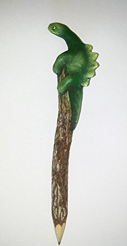 (Dinosaur, Hand Carved & Painted Twig Pencil 2 Pack)