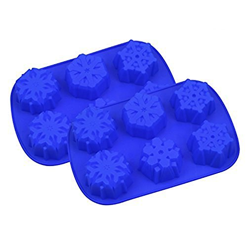 (6 Even Snowflakes Silicone Cake Mold Bath Bombs Mold 2 Pack)