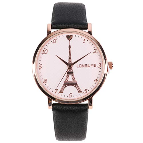- LONBUYS Women Wrist Watch Business Casual Analogous Watches Quartz Waterproof Eiffel Tower Watch IP Rose Gold Leather Band Watch for Girl Women