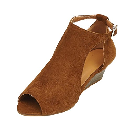 UOKNICE SANDALS Women Fashion Platform Wedge Heel Sandals Peep Toe Ankle-Wrap Buckle Shoes(Brown, CN41(US 8))