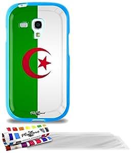 """Carcasa Flexible Ultra-Slim SAMSUNG GALAXY S3 MINI de exclusivo motivo [Bandera Argelia] [Azul] de MUZZANO  + 3 Pelliculas de Pantalla """"UltraClear"""" + ESTILETE y PAÑO MUZZANO REGALADOS - La Protección Antigolpes ULTIMA, ELEGANTE Y DURADERA para su SAMSUNG GALAXY S3 MINI"""