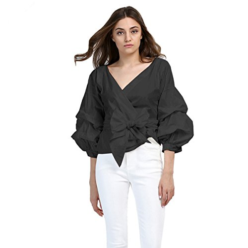 AOMEI Women Spring Summer Blouses with Puff Sleeve Sashes Shirts Tops (3XL, Black)