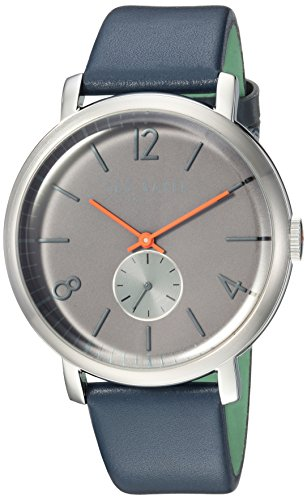Ted Baker Men's Oliver Stainless Steel Quartz Watch with Leather Strap, Blue, 20 (Model: ()