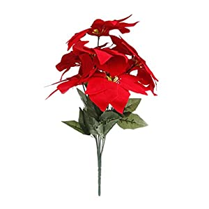 Stebcece Artificial Poinsettias Silk Flowers for Christmas Wedding Party Home Decor 2
