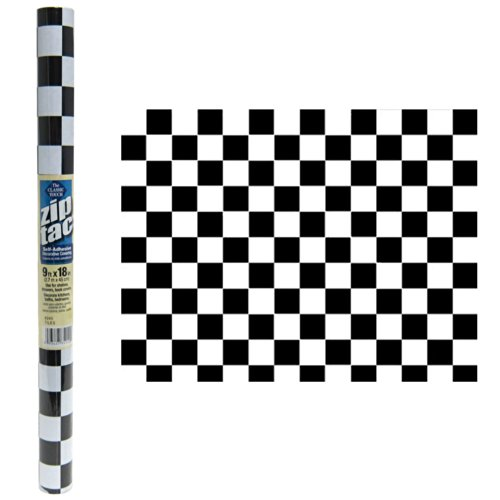Zip Tac Black & White Checkers Contact paper--9 ft x 18in ()