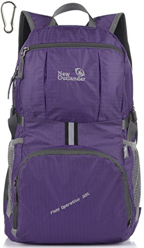 Chest Pocket Zippered (Outlander Packable Lightweight Travel Hiking Backpack Daypack (New Purple))
