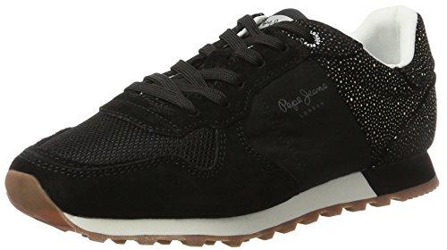 Pepe Jeans London Damen Verona W Flash Sneaker Schwarz (Black)