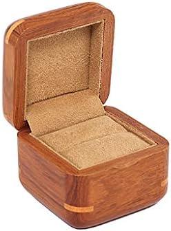 Organizadores y cajas para joyas Caja de exhibición de joyería multifuncional Cuadrado Anillo de madera maciza Caja de joyería Caja de almacenamiento de ...