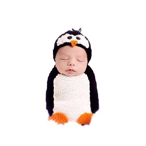 Cricle Circle Newborn Baby Boy Girls Photography Props Handmade Crochet Animal Costume Set (Penguin Santa Costume)