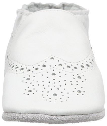 Robeez Unisex Baby Smart Krabbel-& Hausschuhe Weiß (Blanc)