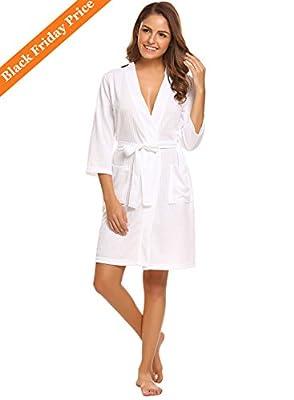 Lomon Robes for Women Sleepwear Waffle Kimono Robe Loungewear Bathrobes Short