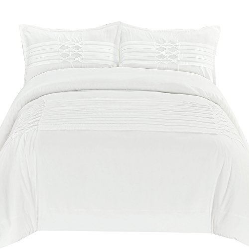 HONEYMOON HOME FASHIONS Queen Pinch Pleated Reversible Full Size Comforter Set, Solid Color Microfiber 3-Piece Luxury, White