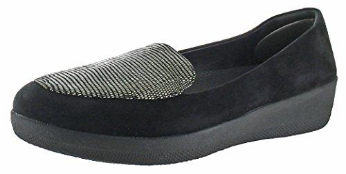 Fitflop Sneakerloafer Dames Slip Op Platte Schoenen Zwarte Hagedis