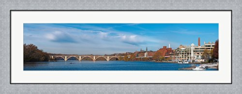 Francis Scott Key Bridge over the Potomac River, Old Georgetown, Washington DC, USA by Panoramic Images Framed Art Print Wall Picture, Flat Silver Frame, 44 x 17 inches
