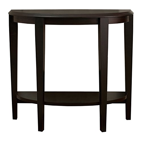 Monarch Specialties Cappuccino Hall Console Accent Table, 36-Inch (Half Moon Hall Table)