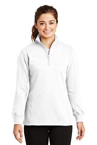 Sport-Tek Women's 1/4 Zip Sweatshirt M White from Sport-Tek