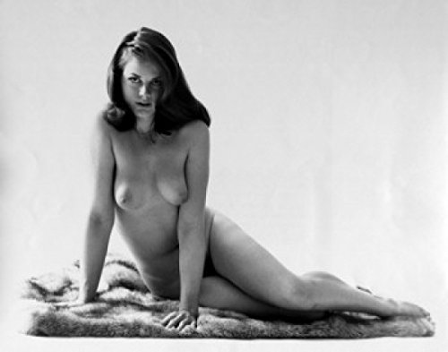 Portrait of nude young woman sitting on blanket Poster Print (24 x 36)