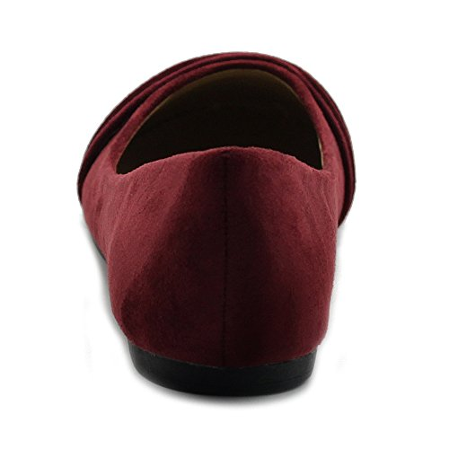 Suede Flat Muliti Shoes Ollio Faux Women's Ballet Color Burgundy Pleated Comforts qBUww1xt