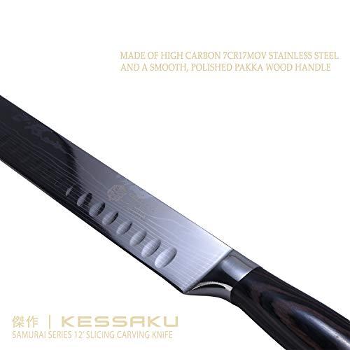 Kessaku Slicing Carving Knife - Samurai Series - Japanese Etched High Carbon Steel, 12-inch by Kessaku (Image #5)