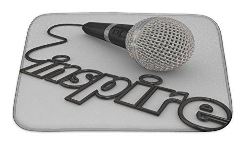 Gear New Inspire Word in Microphone Cord To Illustrate A Keynote Motivational or Self-Help Speaker Sharing I Bath Rug Mat No Slip Microfiber Memory Foam