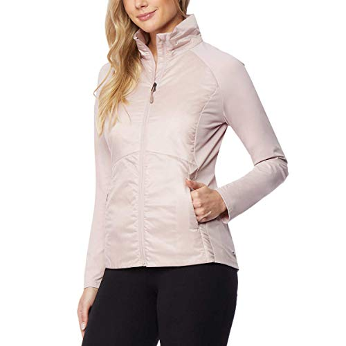 (32 DEGREES Cool Womens Lightweight Mixed Media Jacket (Rose Water, Small))